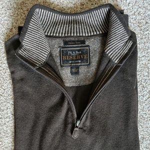 Joseph A. Bank Brown Merino Wool Quarter Zip